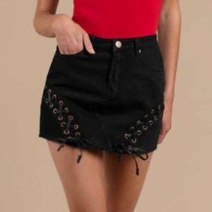 Tobi Lace Up Black Denim Mini Skirt